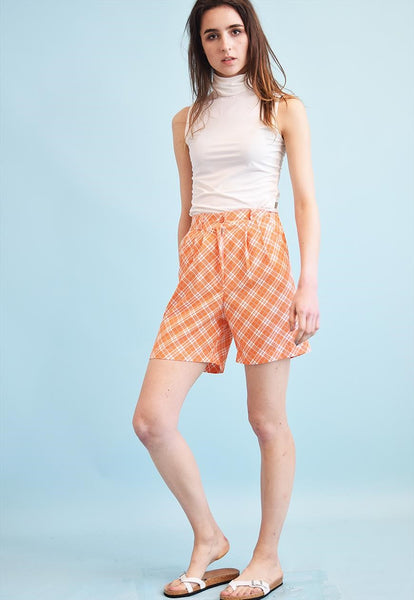 90's retro checked oversized shorts culottes