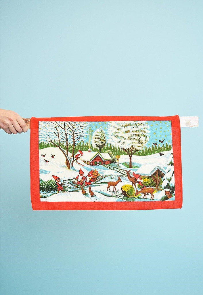Vintage 80's Christmas Winter Wonderland kitchen tea towel