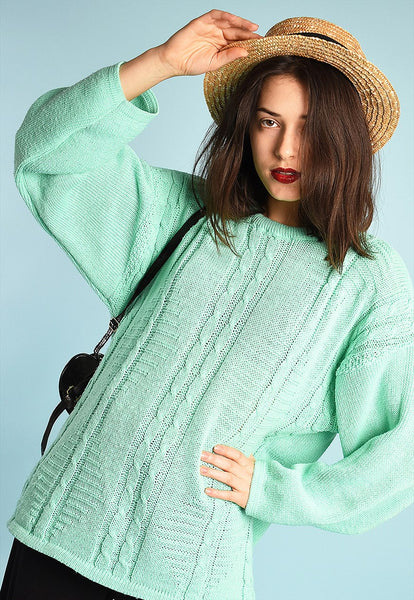90s retro mint summer knit slouchy jumper top