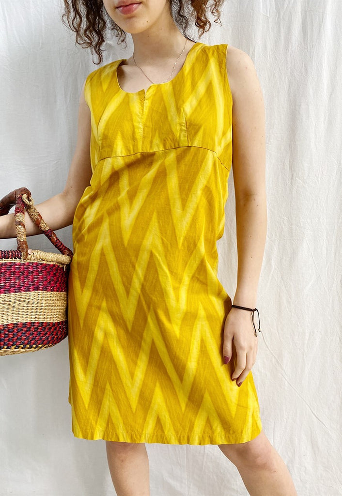 Vintage 60s Citrus Mod Abstract Chevron print midi day dress