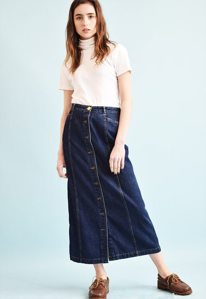 90's retro TOMMY HILFIGER denim Mom's maxi skirt