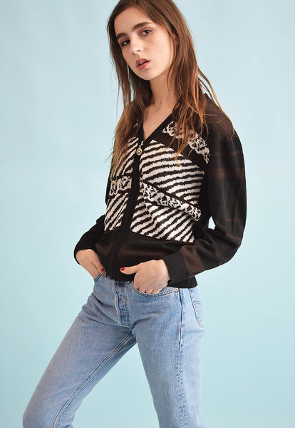 90's retro abstract print knit oversized cardigan top
