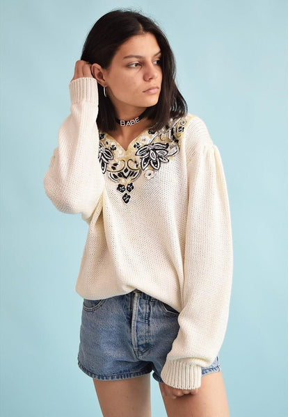 80's retro knit beaded sequined Moms oversized jumper top