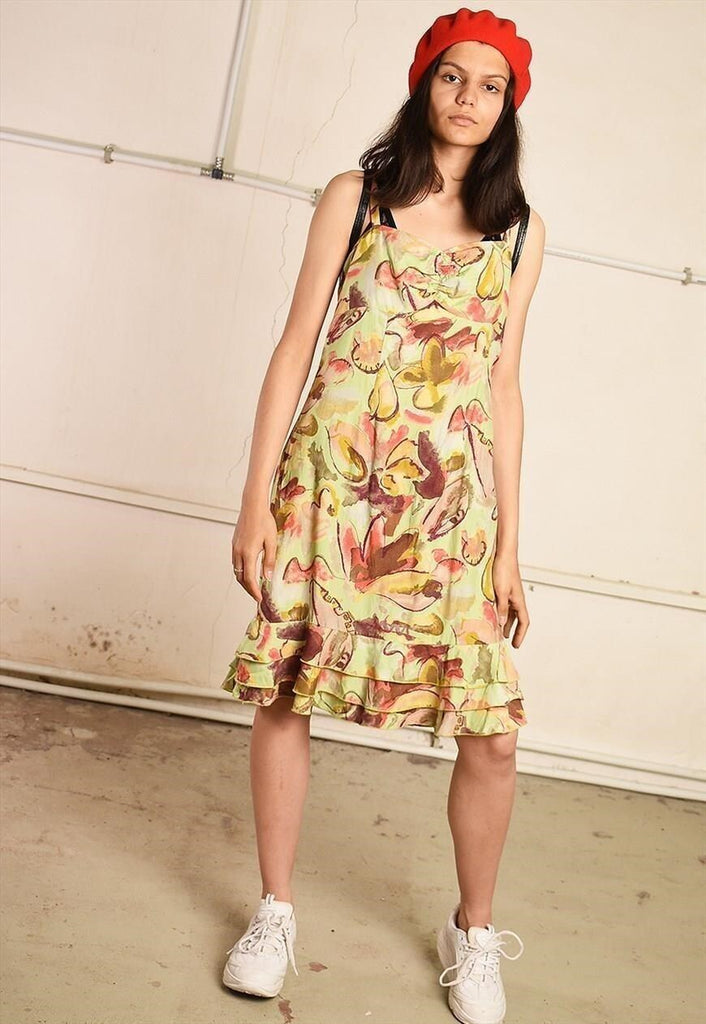 90's retro abstract floral print midi dress
