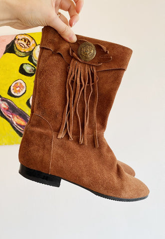 Vintage 70s real leather suede fringed Boho cowboy boots
