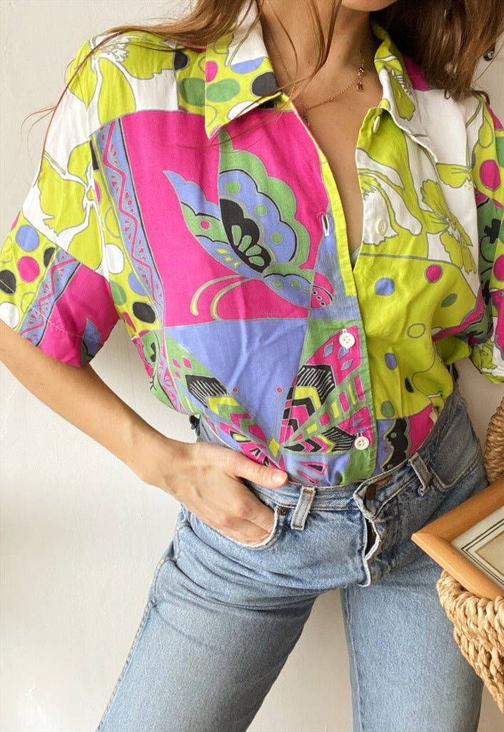 Vintage 80s Butterfly Artwork abstract print blouse top