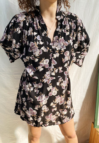 Vintage 90s Haute Boheme Abstract Floral blouse tunic top
