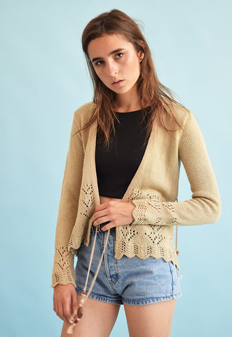 90's retro Boho neutral knit cardigan top