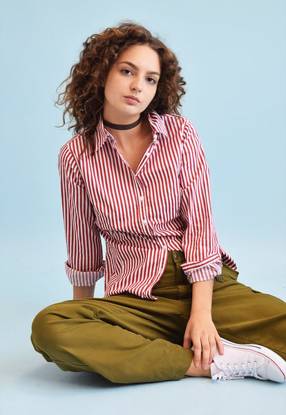 90's retro striped petite shirt top