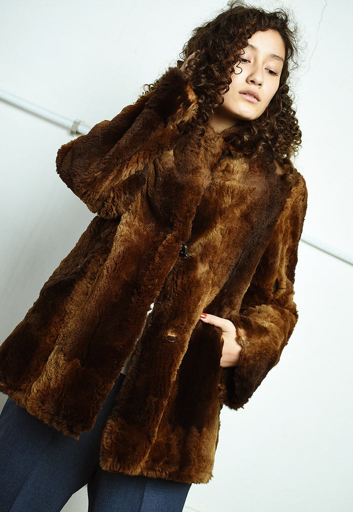 Vintage 50's retro real fur Boho brown coat