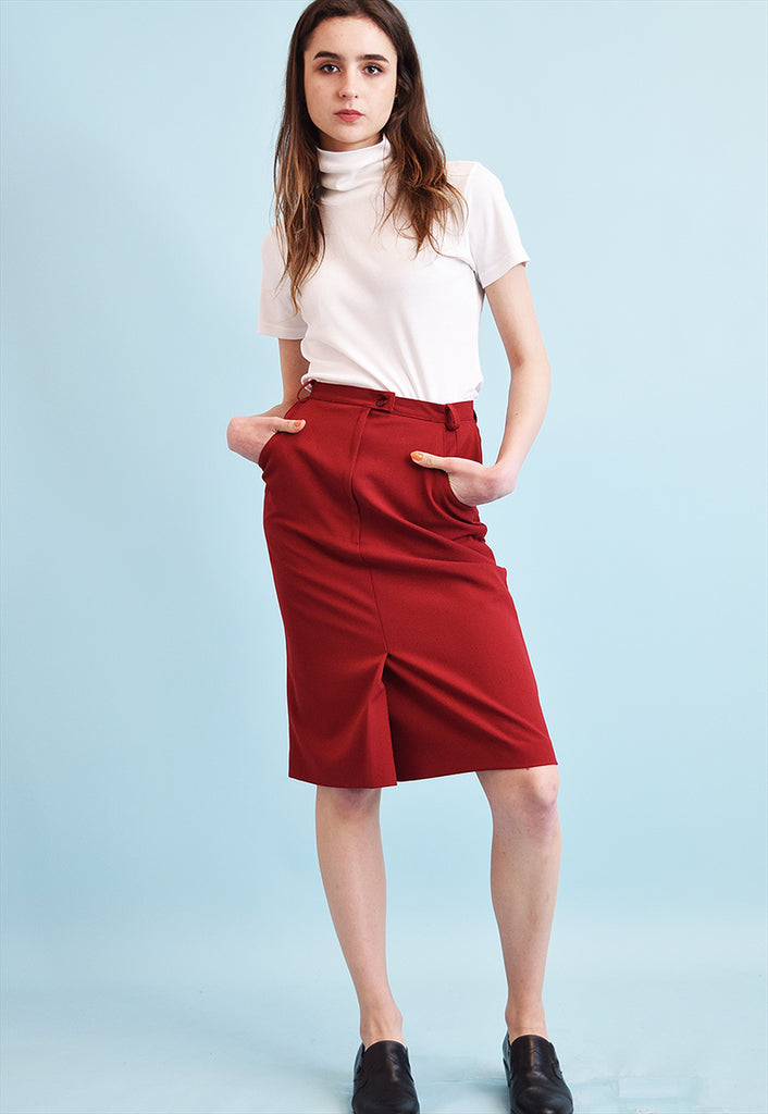 90's retro classic cut maroon midi pencil skirt