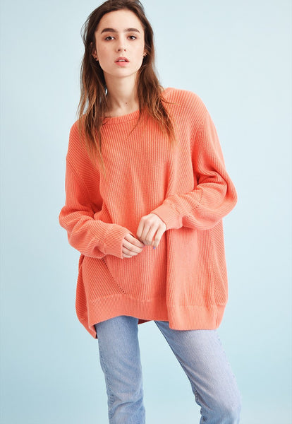 90's retro coral knit oversized Moms jumper top