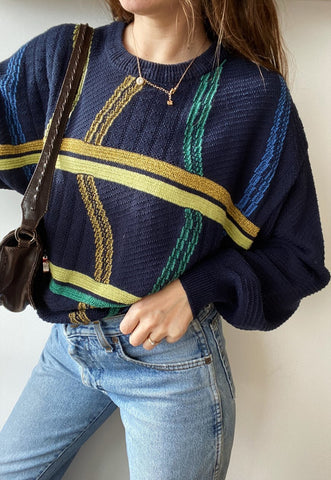 Vintage 80s Abstract Knit unisex jumper sweater pullover