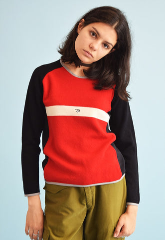90's retro athleisure sports knit woolen jumper top