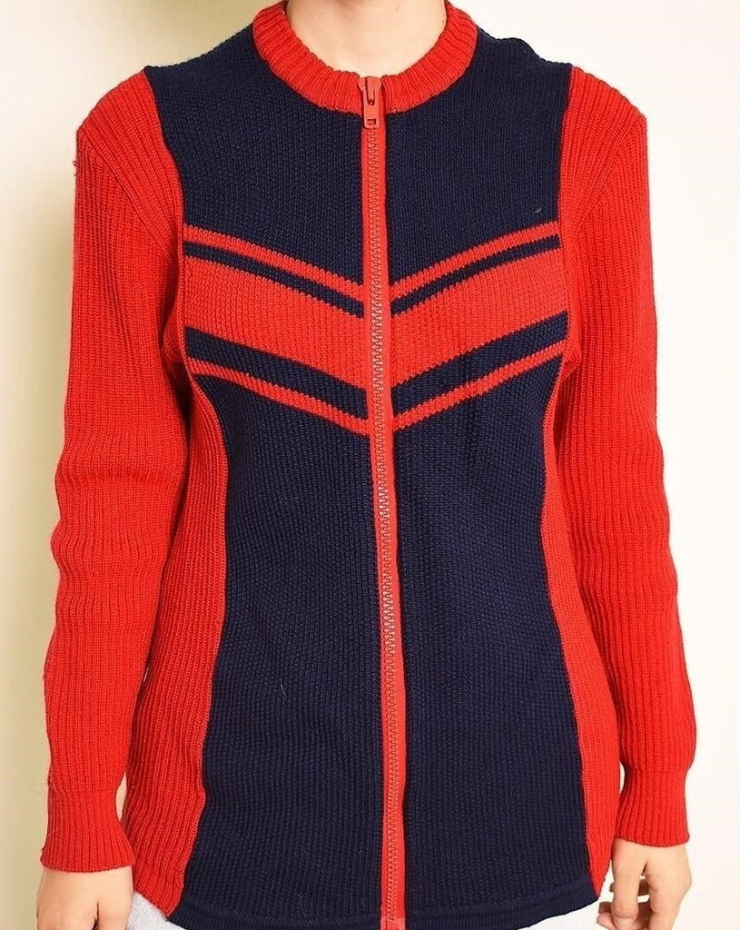 70's retro athleisure sports knitted cardigan