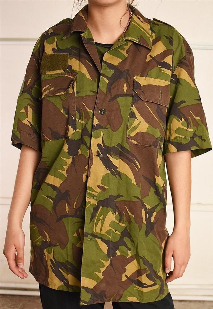 90's retro camo military style oversized festival shirt top