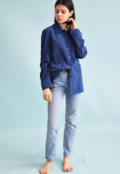 90's retro Scandi faux suede oversized grunge shirt top