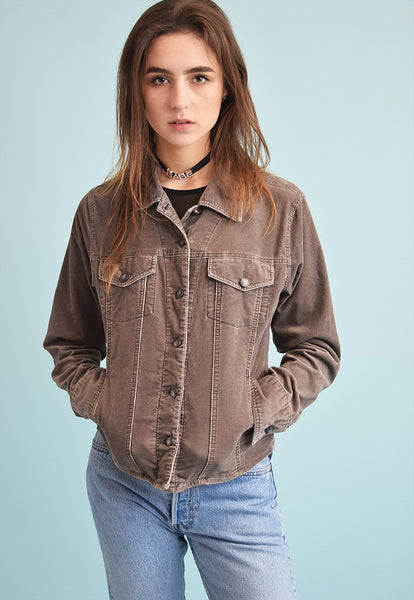 90's retro corduroy teen crop jacket top