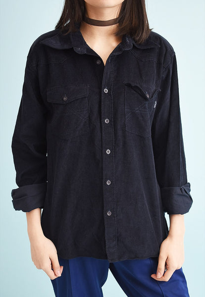 90's retro grunge navy blue corduroy shirt
