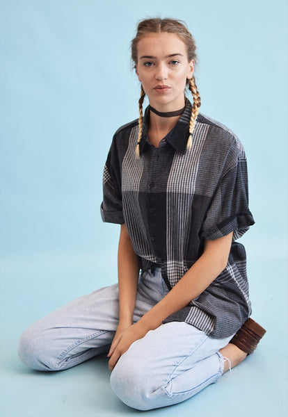 90's retro checked print monochrome oversized blouse top