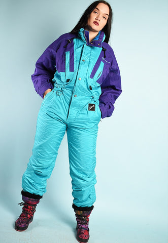 80's retro SERGIO TACCHINI sports skiing winter jumpsuit