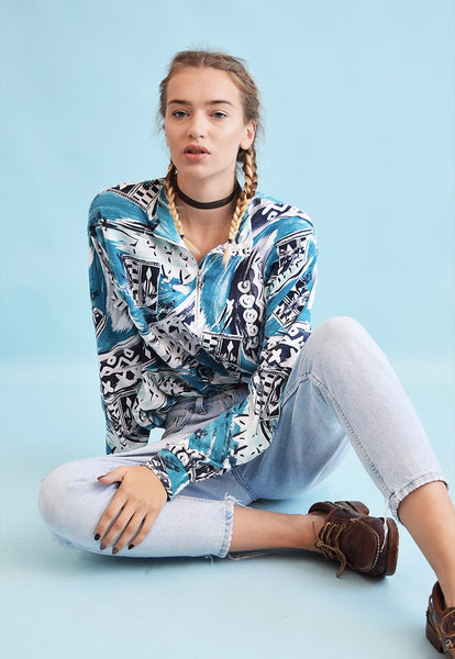 80's retro abstract print tracksuit jersey jumper top