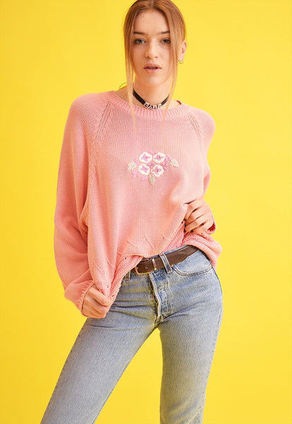 80's retro knitted Moms oversized jumper top