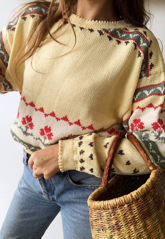 Vintage 80s Countryside Fair Isle Christmas knit jumper top