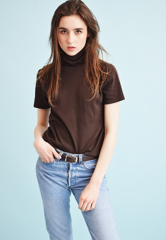 90's retro minimalist turtleneck teen top blouse