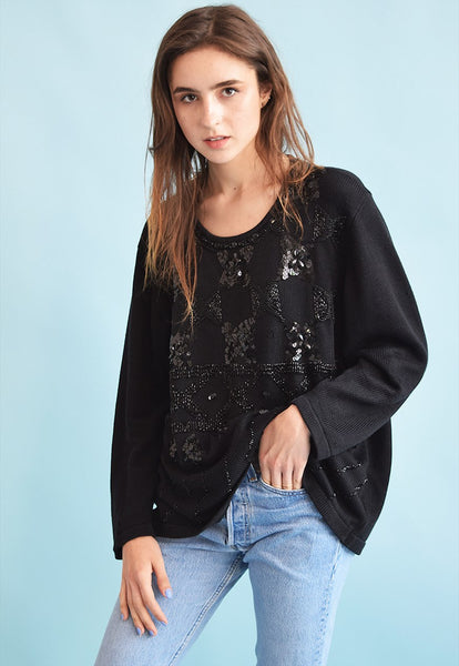 80's retro sequined beaded oversized knit Moms jumper top