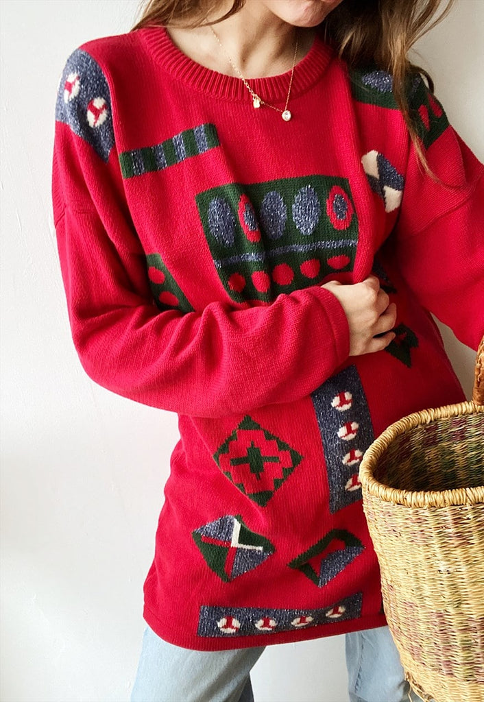 Vintage 80s Boheme Abstract Ethnic knitted oversized jumper