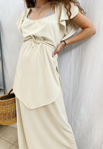 Vintage 70s Cream Haute Boheme Greek Revival maxi dress