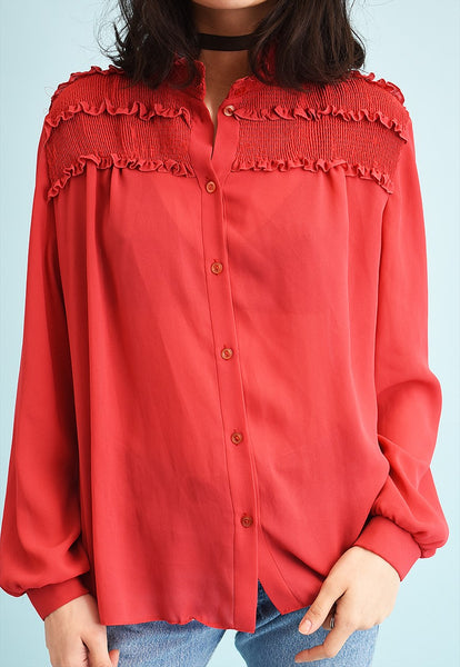 80's retro ruffle loose-fitted shirt blouse