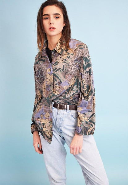 90's retro oriental pattern oversized Dads shirt top