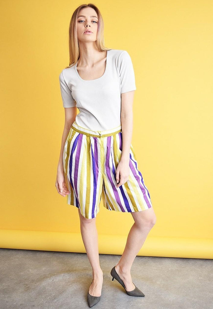 70's retro Mod striped shorts culottes