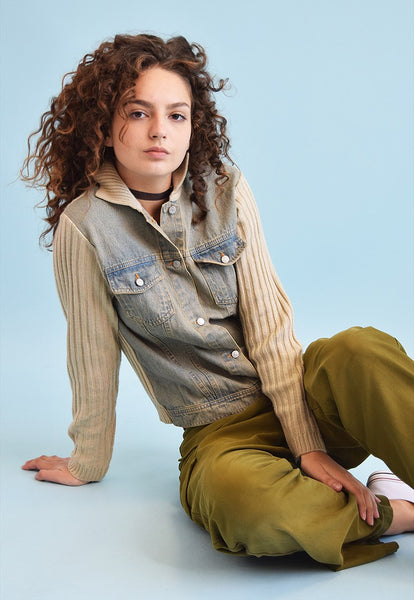 90's retro neutral denim & knit teen jacket
