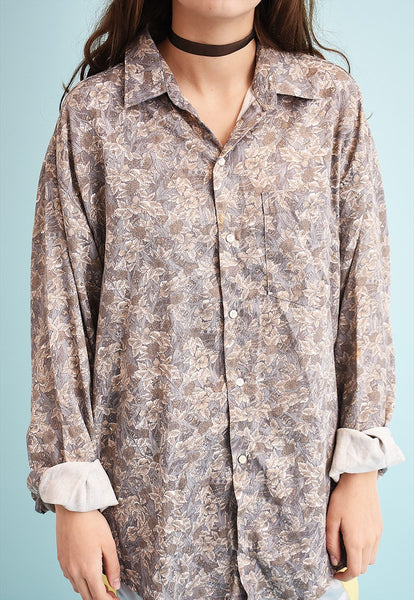 90's retro floral print oversized shirt top