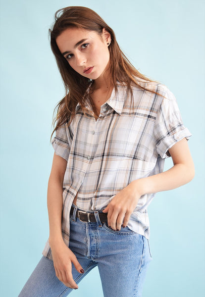 90's retro checked print neutral oversized blouse top