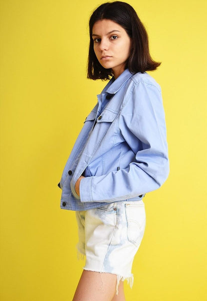 90's retro denim-like oversized Mom's crop jacket