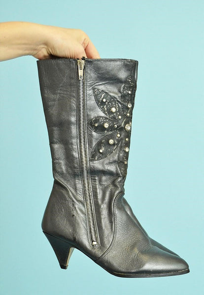 Vintage 80's retro shimmer Kitsch leather heeled boots