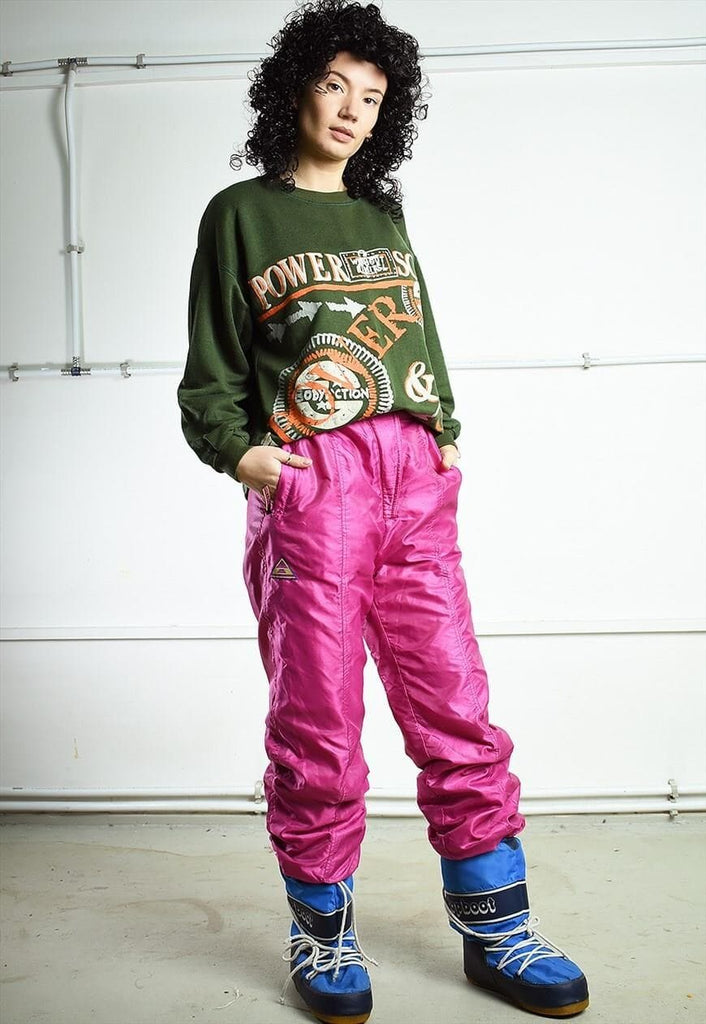 Vintage 80s sports shimmer skiing bottoms trousers jog pink