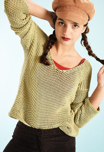 Y2K neutral cable knit sheer festival jumper top