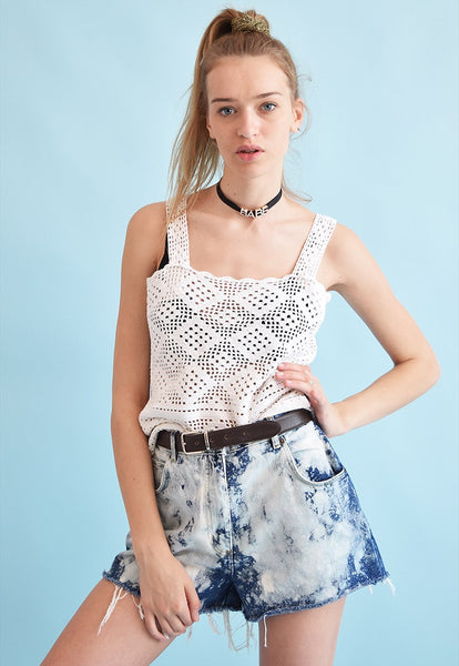 Vintage 90's retro white oversized knitted top in crochet
