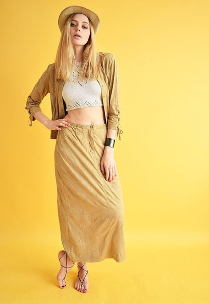 90's retro faux suede Boho western co-ord two piece