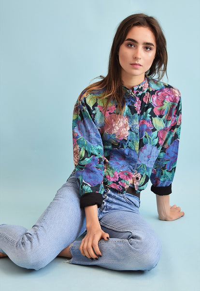 80's retro floral print cropped festival jacket top