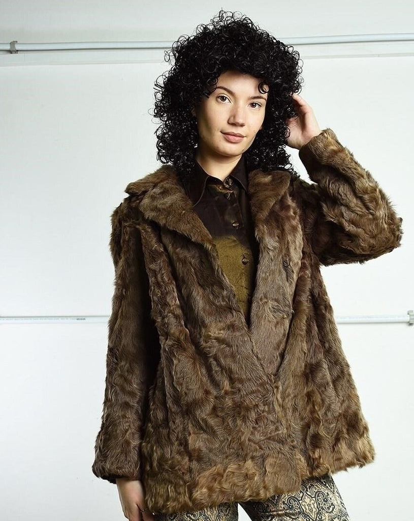 Vintage 70's retro oversized real fur jacket