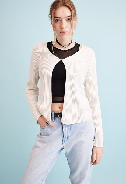 90's retro neutral ribbed knitted Moms cardigan top