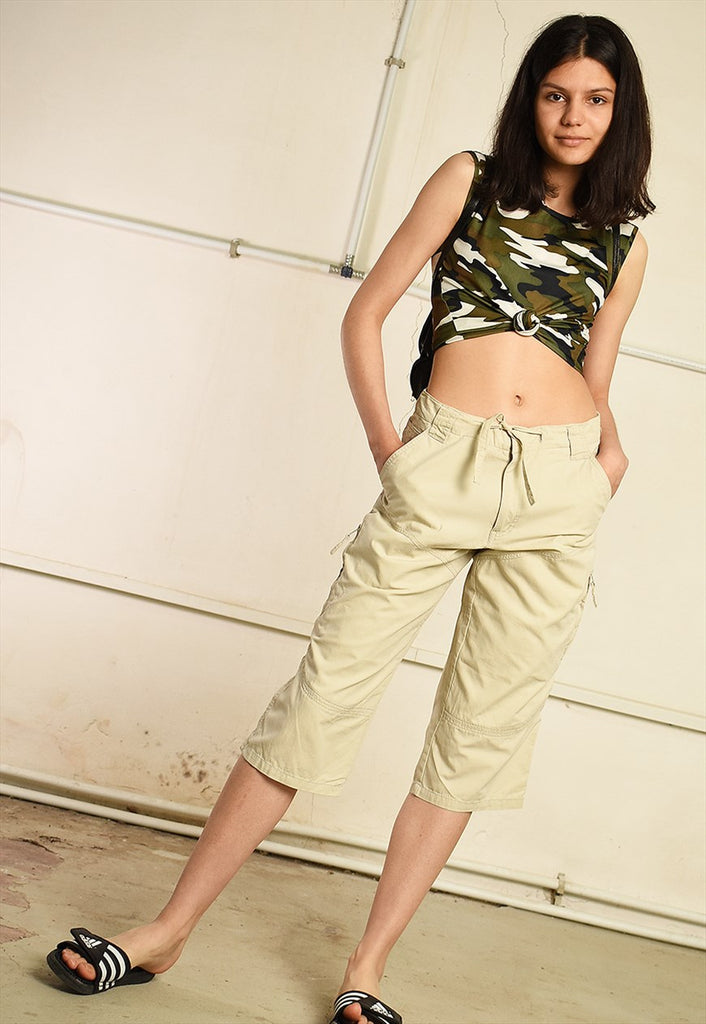 90's retro regular waist short cut cargo capri trousers