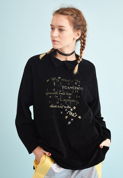 90's retro oversized velveteen slogan sweatshirt jumper