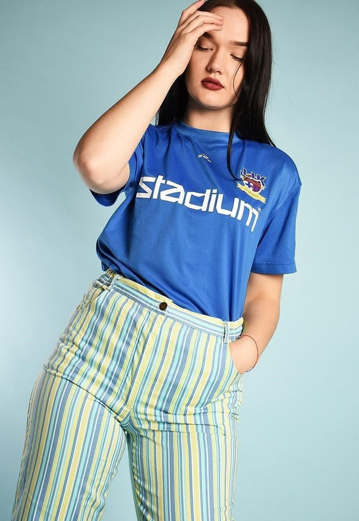 Vintage 90s retro sports jersey t-shirt top tee in blue